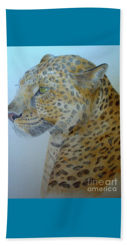 Cat Wild Cat Colored Pencils Paper Drawing Beach Towel featuring the drawing Guepard by Nadi Sabirova