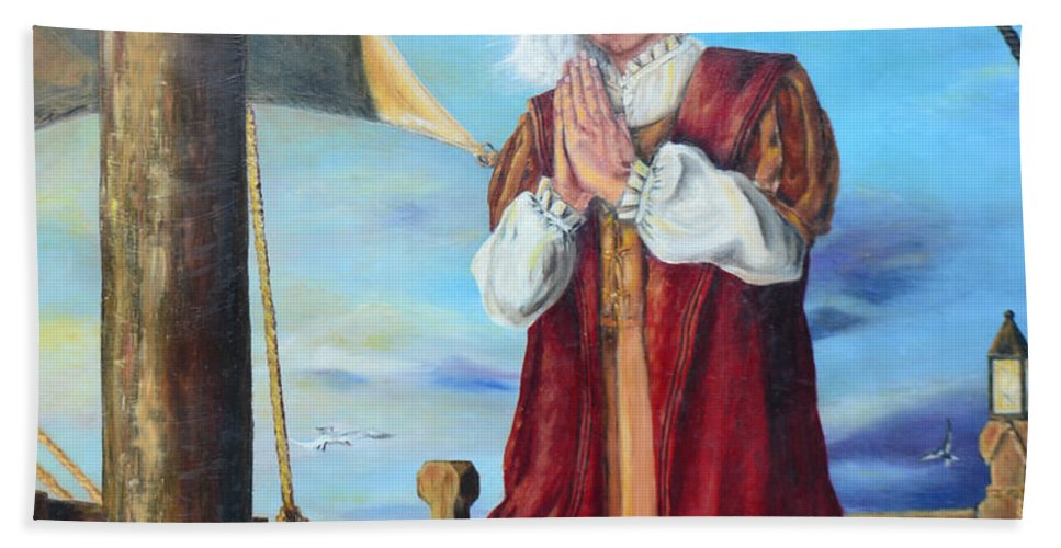 Christopher Columbus Beach Towel featuring the painting Guided By Divine Power by Lori Brackett