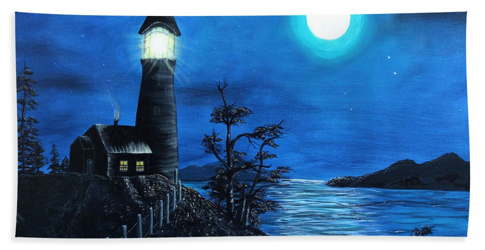 Barbara Griffin Beach Towel featuring the painting Guiding Lights by Barbara Griffin