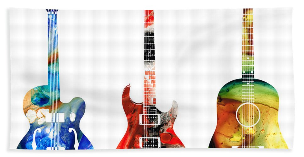 Guitar Beach Towel featuring the painting Guitar Threesome - Colorful Guitars By Sharon Cummings by Sharon Cummings