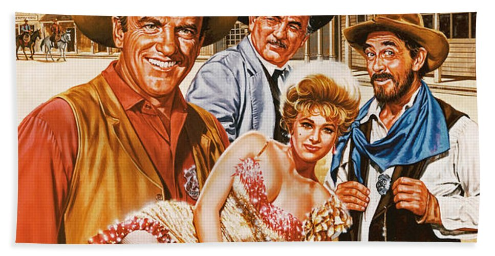 Portrait Beach Towel featuring the painting Gunsmoke by Dick Bobnick
