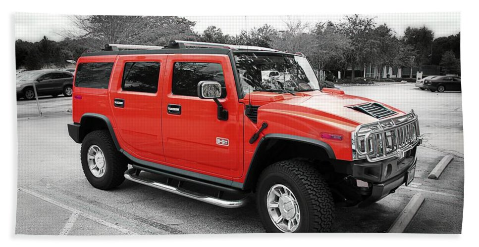 Hummer Beach Towel featuring the photograph Red Hummer H2 Series by Carlos Diaz