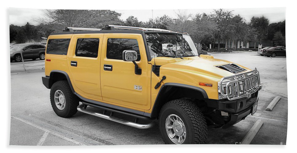 Hummer Beach Towel featuring the photograph Hummer H2 Series Yellow by Carlos Diaz