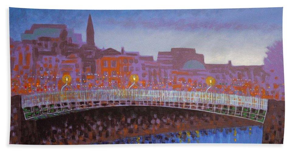 Dublin Beach Towel featuring the painting Ha Penny Bridge Dublin Cropped by John Nolan