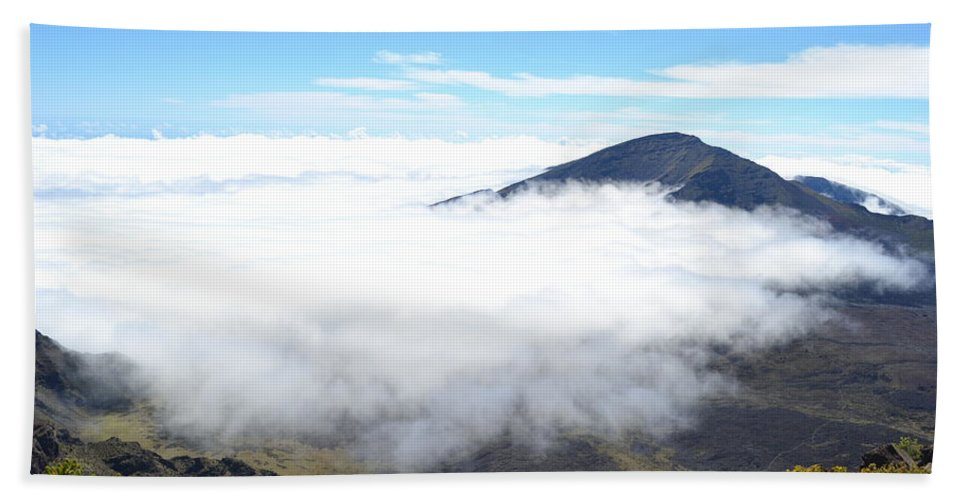 Haleakala Beach Towel featuring the photograph Haleakala Clouds Moving In by Christine Owens