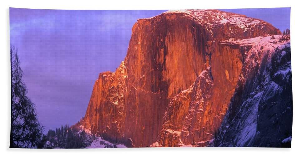 Yosemite Beach Towel featuring the photograph Half Dome Alpen Glow by Jim And Emily Bush