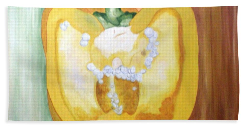 Half Pepper Beach Towel featuring the painting Half-pepper by Graciela Castro