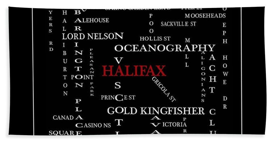 Halifax Nova Scotia Crosswords Red Beach Towel featuring the digital art Halifax Nova Scotia Crosswords Red by Barbara Griffin