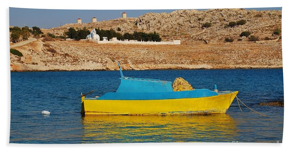 Halki Beach Towel featuring the photograph Halki Fishing Boat by David Fowler