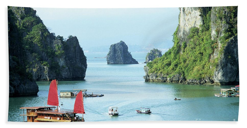 Vietnam Beach Towel featuring the photograph Halong Bay Sails 03 by Rick Piper Photography