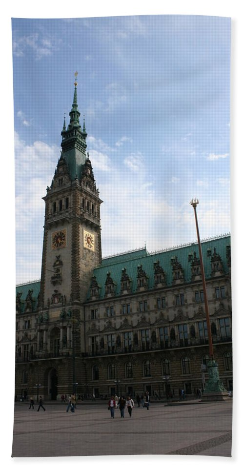 Hamburg Beach Towel featuring the photograph Hamburg - City Hall - Germany by Christiane Schulze Art And Photography
