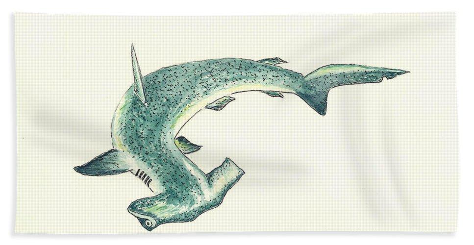 Shark Beach Towel featuring the painting Hammerhead Shark by Michael Vigliotti