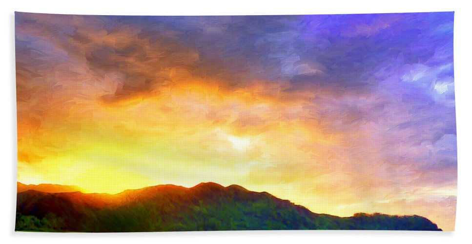 Hanalei Bay Beach Towel featuring the painting Hanalei Sunset by Dominic Piperata