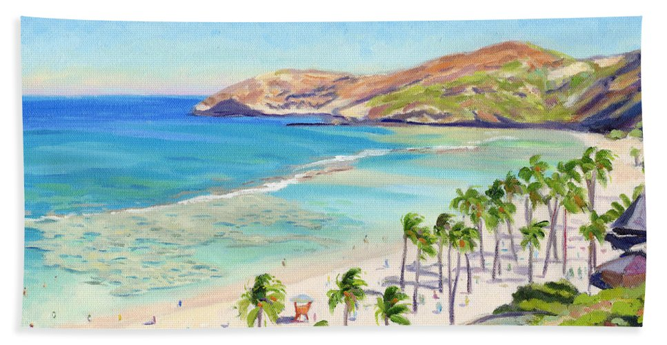 Hanauma Bay Beach Towel featuring the painting Hanauma Bay - Oahu by Steve Simon