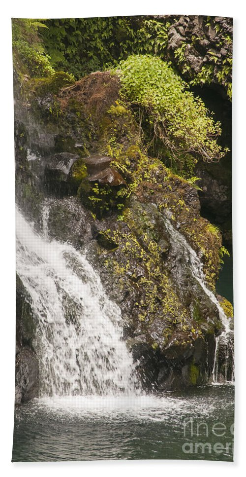 Hanawi Falls Road To Hana Maui Hawaii Waterfall Waterfalls Landscape Landscapes Water Waterscape Waterscapes Beach Towel featuring the photograph Hanawi Falls by Bob Phillips