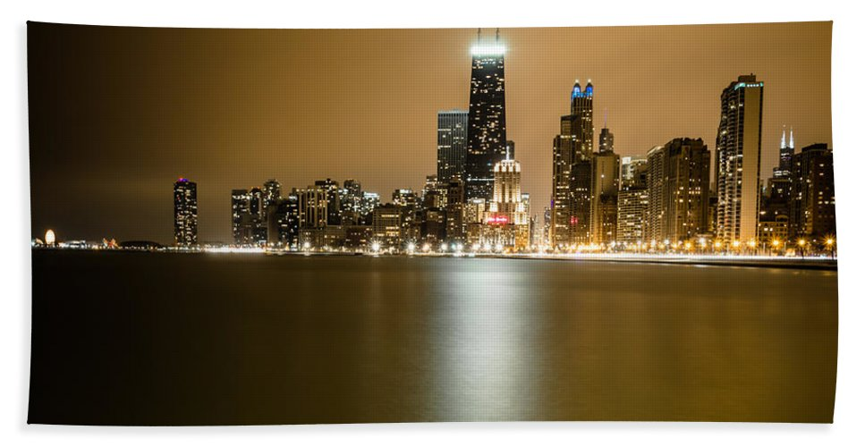 Chicago Beach Towel featuring the photograph Hancock Building Reflection From North Ave Beach by Anthony Doudt