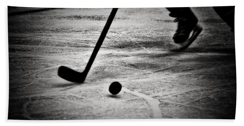 Hockey Beach Towel featuring the photograph Handling It Bw by Karol Livote