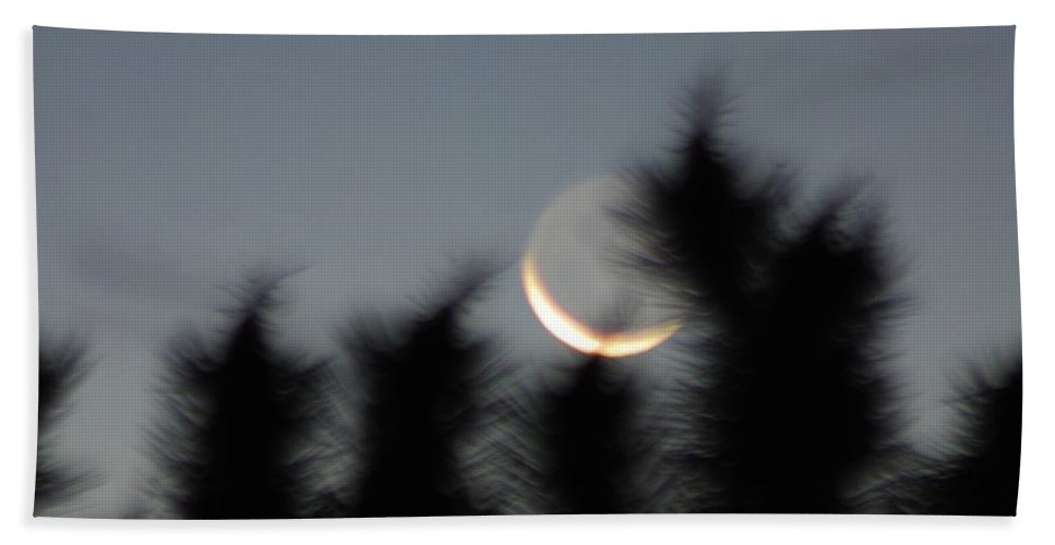 Night Beach Towel featuring the photograph Hand'z And Moon Gotcha by Angela J Wright