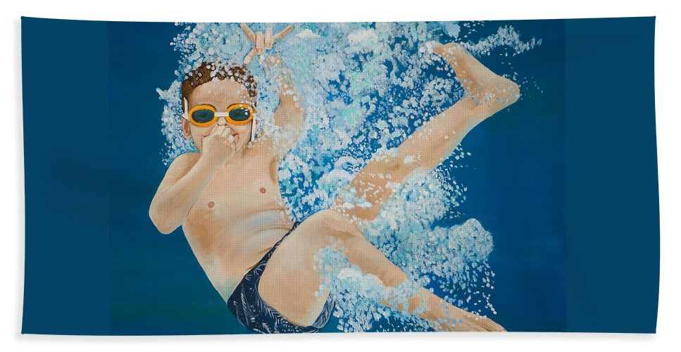 Swimming Pool Beach Towel featuring the painting Hang Loose by Linda Queally
