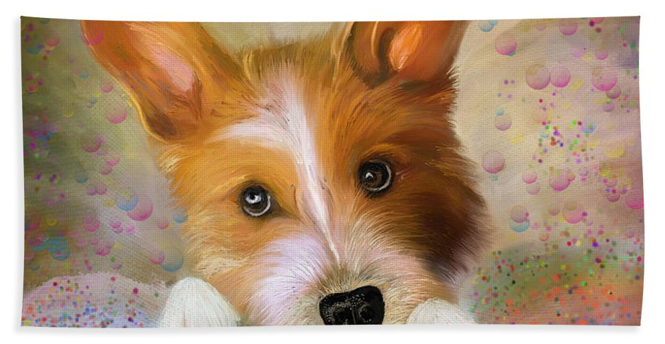 Hankie A Corgi And Westi Mix Cute Dog Beach Towel featuring the painting Hankie A Corgi And Westi Mix Cute Dog by Angela Stanton