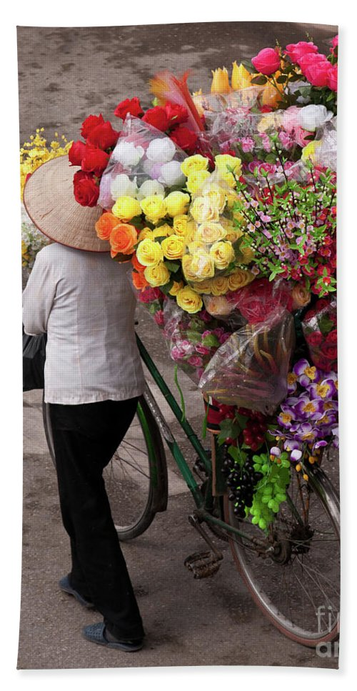 Vietnam Beach Towel featuring the photograph Hanoi Flowers 01 by Rick Piper Photography
