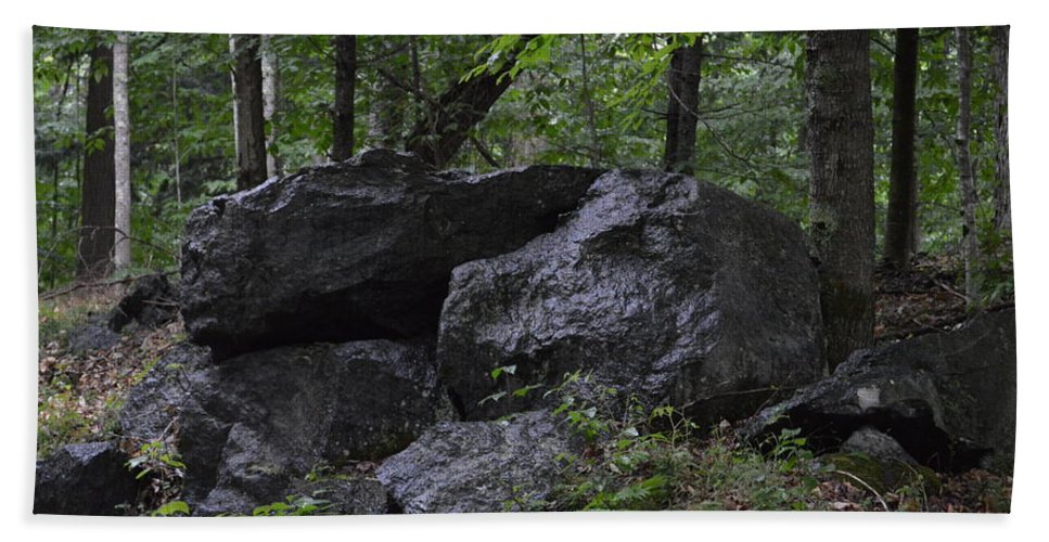 Face Beach Towel featuring the photograph Happy Boulder by Thomas Phillips