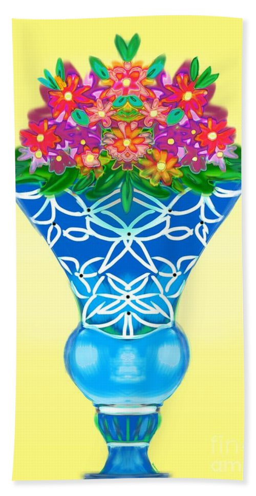 Floral Beach Towel featuring the digital art Happy Day Urn by Christine Fournier