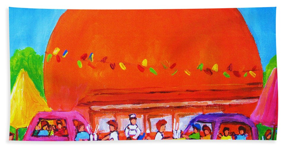 Montreal Beach Towel featuring the painting Happy Days At The Big Orange by Carole Spandau