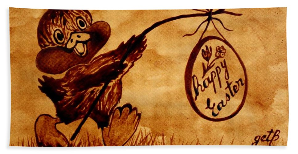 Easter Greeting Card Eith Egg And Chicken Beach Towel featuring the painting Happy Easter Coffee Art by Georgeta Blanaru