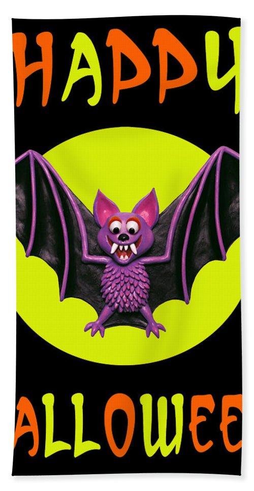 Beach Towel featuring the digital art Happy Halloween Bat by Amy Vangsgard