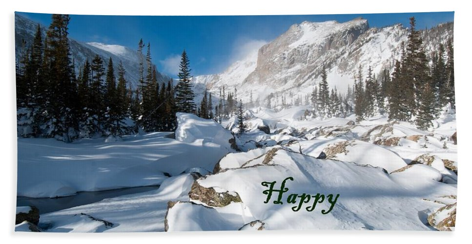 Happy Holidays Beach Towel featuring the photograph Happy Holidays Snowy Mountain Scene by Cascade Colors