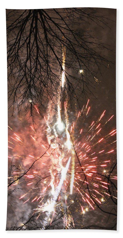 Fireworks Beach Towel featuring the photograph Happy New Year 2014 Three by Verana Stark