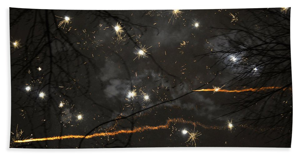 Fireworks Beach Towel featuring the photograph Happy New Year 2014 Two by Verana Stark