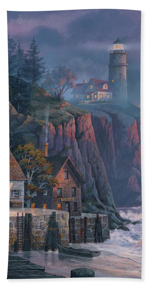 Michael Humphries Beach Towel featuring the painting Harbor Light Hideaway by Michael Humphries