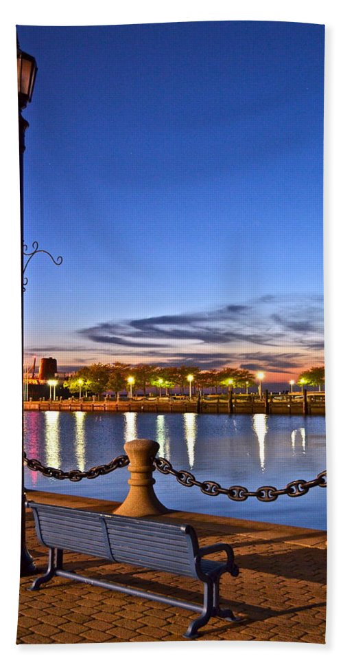 Harbor Beach Towel featuring the photograph Harbor Lights by Frozen in Time Fine Art Photography