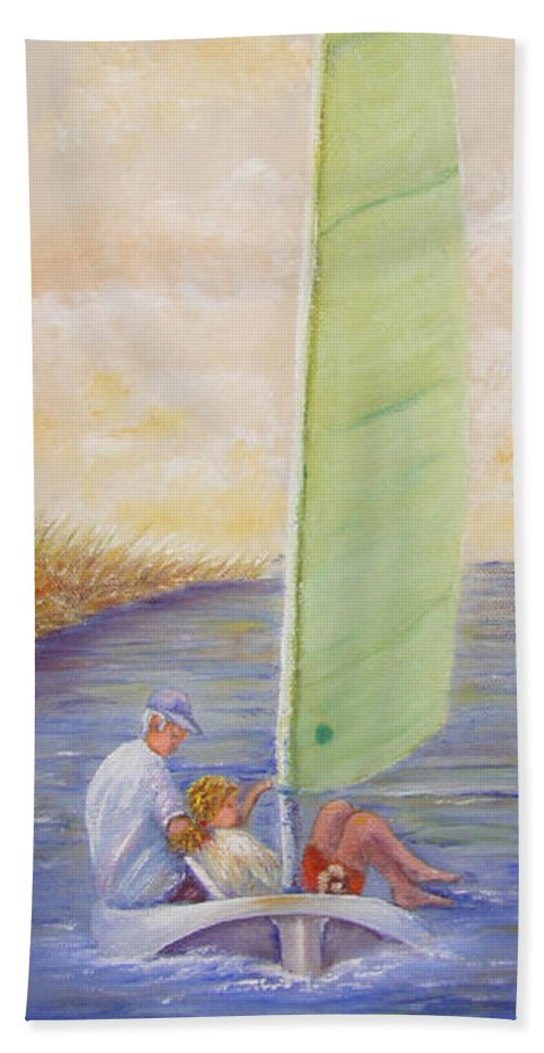 Boats Beach Towel featuring the painting Harbor Sail by Loretta Luglio