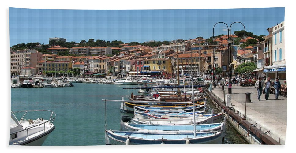 Harbor Beach Towel featuring the photograph Harbor Scene Cassis by Christiane Schulze Art And Photography