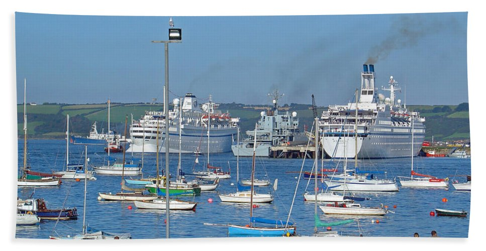 Flood Light Beach Towel featuring the photograph Harbour And Queen's Wharf - Falmouth by Rod Johnson