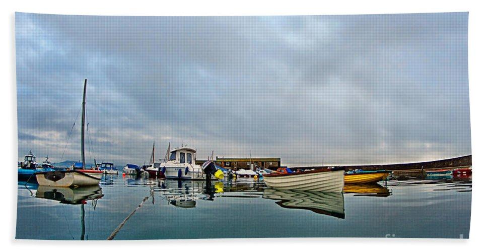 Lyme Regis Beach Towel featuring the photograph Harbour Overview 2 - Lyme Regis by Susie Peek