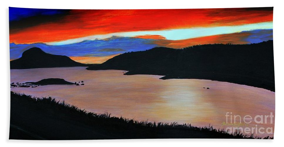 Barbara Griffin Beach Towel featuring the painting Harbour Sunset by Barbara Griffin