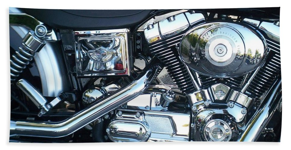 Motorcycles Beach Towel featuring the photograph Harley Black and Silver Sideview by Anita Burgermeister