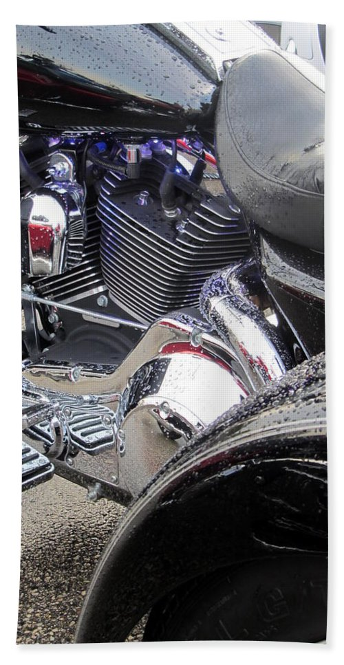 Motorcycles Beach Towel featuring the photograph Harley Close-up Blue Lights by Anita Burgermeister