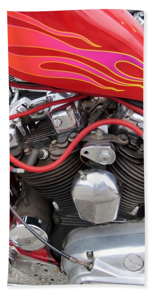 Motorcycles Beach Towel featuring the photograph Harley Close-up Pink And Red Flames by Anita Burgermeister