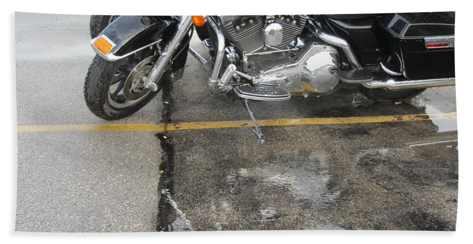 Motorcycles Beach Towel featuring the photograph Harley Close-up Rain Reflections Wide by Anita Burgermeister