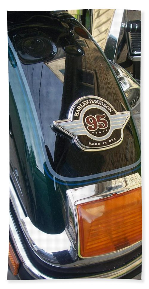 Motorcycles Beach Towel featuring the photograph Harley Close-up Tail Light by Anita Burgermeister
