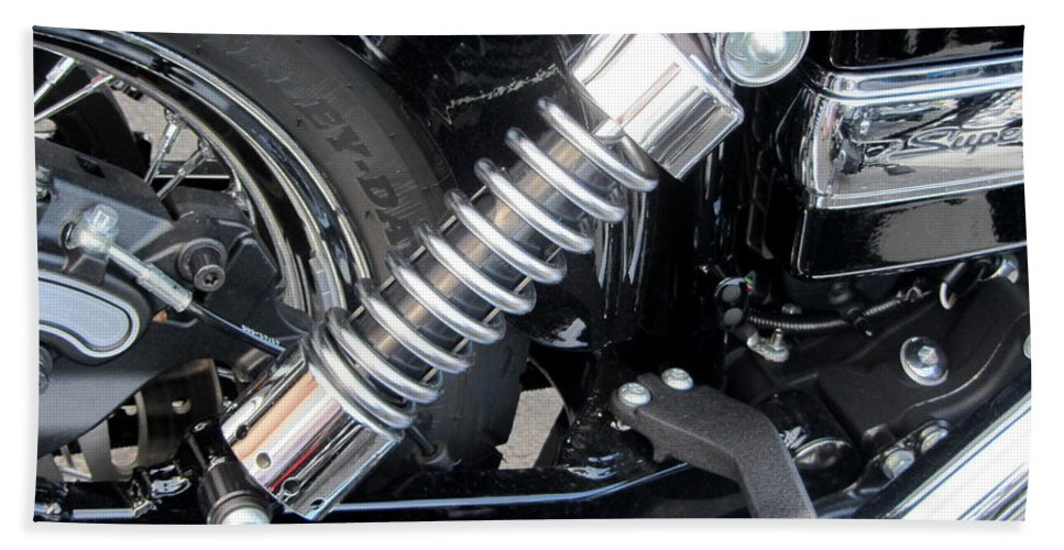 Motorcycles Beach Towel featuring the photograph Harley Engine Close-up 2 by Anita Burgermeister