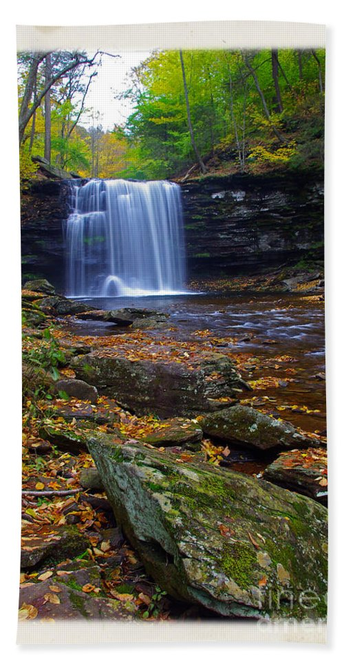 Pennsylvania Beach Towel featuring the photograph Harrison Wright Falls In Autumn by Rich Walter
