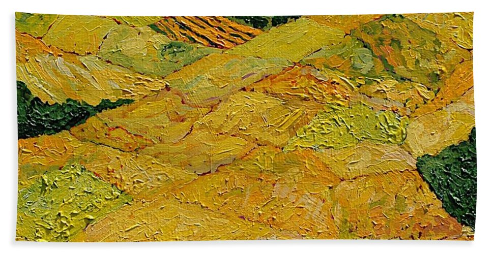 Landscape Beach Sheet featuring the painting Harvest Joy by Allan P Friedlander