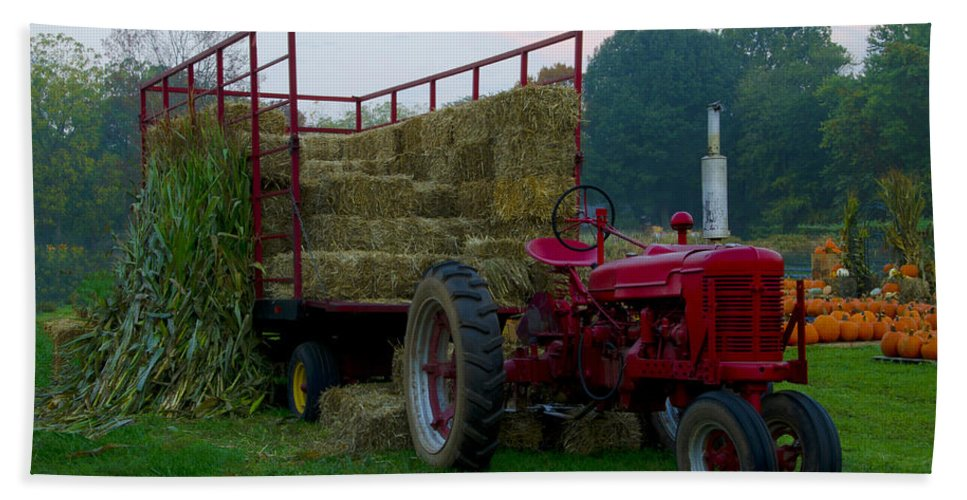 Harvest Beach Towel featuring the photograph Harvest Time Tractor by Bill Cannon