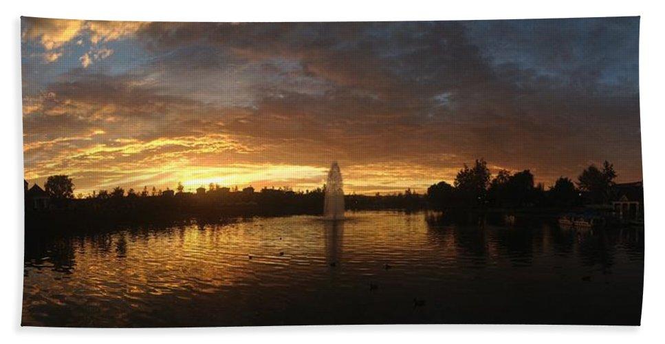 Harveston Lake Sunset Beach Towel featuring the photograph Harveston Lake Sunset by Christine Owens